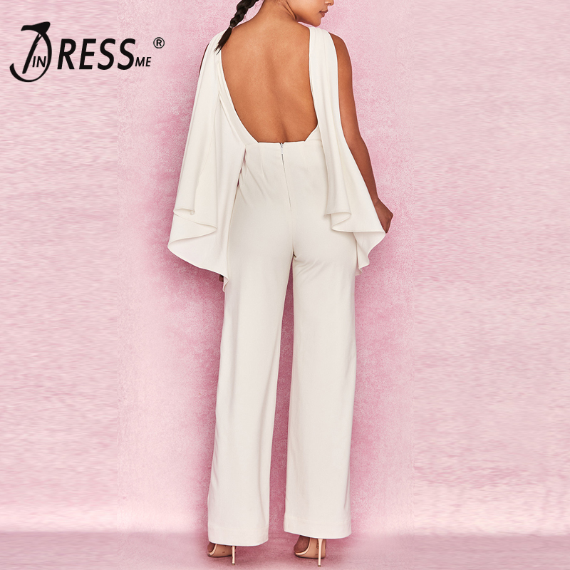 INDRESSME Elegant Solid White Wing Backless Bodycon Women Jumpsuits Sexy Slash Backless Full Length Women Bodysuits 2018