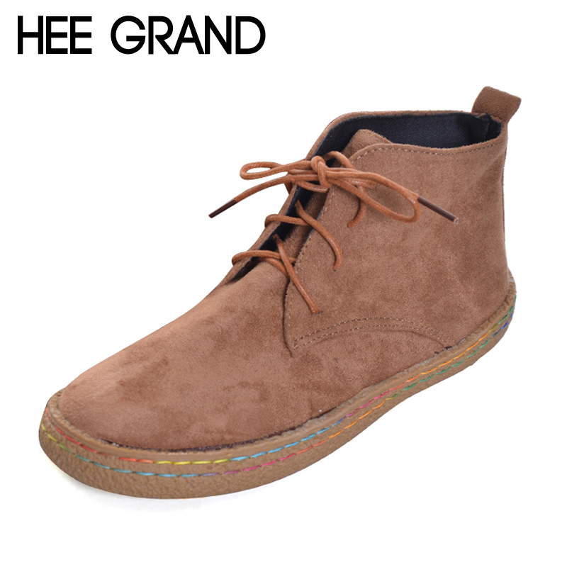 HEE GRAND Gladiator Lace Up New Rubber Women Ankle Boots Casual Solid Creepers Shoes Woman Fashion Women Shoes Flat with XWX6181 hee grand lace up gladiator sandals 2017 summer platform flats shoes woman casual creepers fashion beach women shoes xwz4085