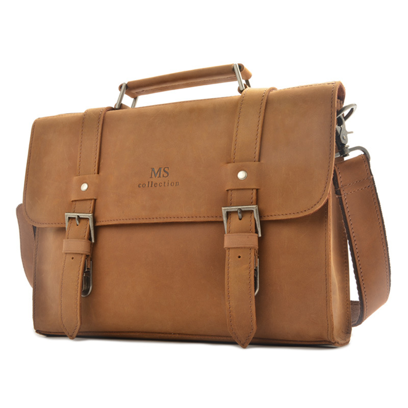 Retro First Layer Leather Business Briefcase Genuine Leather Men's Portable Crossbody Bag Unisex Cow Leather Shoulder Bag 2017 now houlder messenger bag genuine leather business leisure bag retro 100% cow first layer of leather bag 14inch briefcase