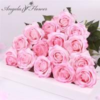 15 unids/lote de seda real touch Rosa artificial hermosa flor flores sintéticas para boda para fiesta en casa decoración regalo de San Valentín
