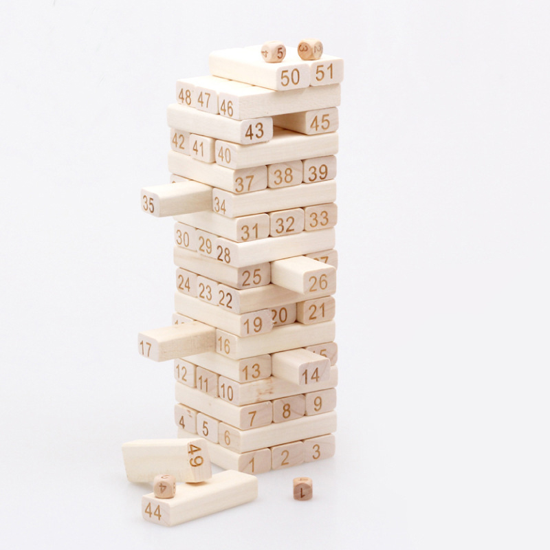 51 Pcs/set Quality Beech Wooden Toys Tower Wood Building Blocks Jenga  Domino Game Toy Kids Gift Developmental Toys