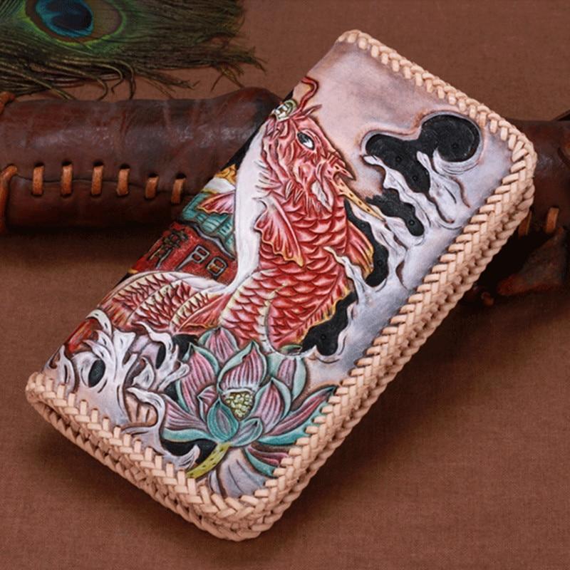 Women Genuine Leather Card Holder Wallets Carp Jump To Longmen Knitting Bag Purses Men Clutch Vegetable Tanned Leather Wallet