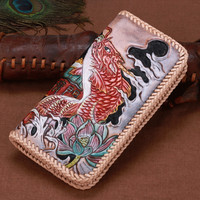 Women Genuine Leather Card Holder Wallets Carp Jump To Longmen Knitting Bag Purses Men Clutch Vegetable Tanned Leather Wallet