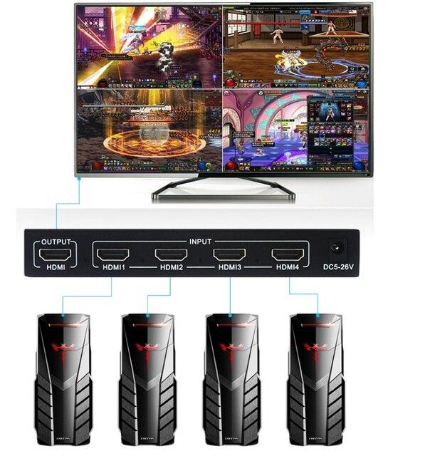 1080P 4x1 HDMI multi viewer HDMI Quad Screen w czasie rzeczywistym multi viewer rozdzielacz HDMI jednolity przełącznik z sterowanie ir
