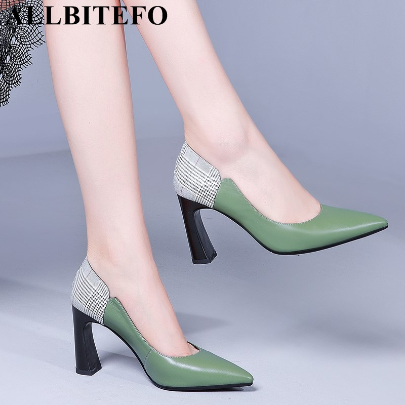 ALLBITEFO naturale di alta qualità delle donne del cuoio genuino scarpe tacchi punta a punta di modo di colori misti ragazze tacco alto scarpe da donna-in Pumps da donna da Scarpe su  Gruppo 1