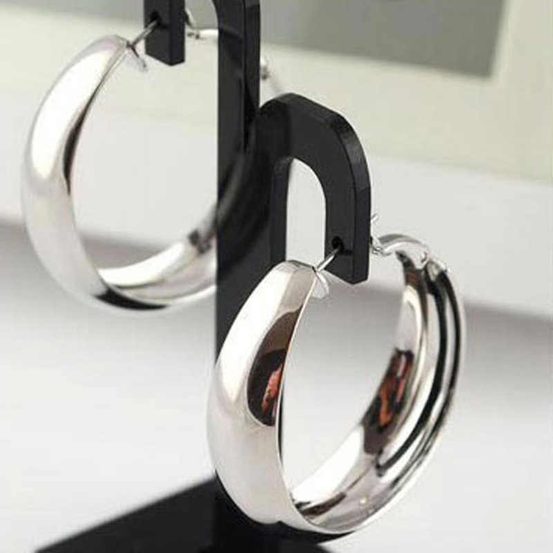 10 pairs/lot Large Hoop Earrings Big Circle Smooth Round Large Loop Earring Ear Accessories For Women Gold Silver Plated Jewelry