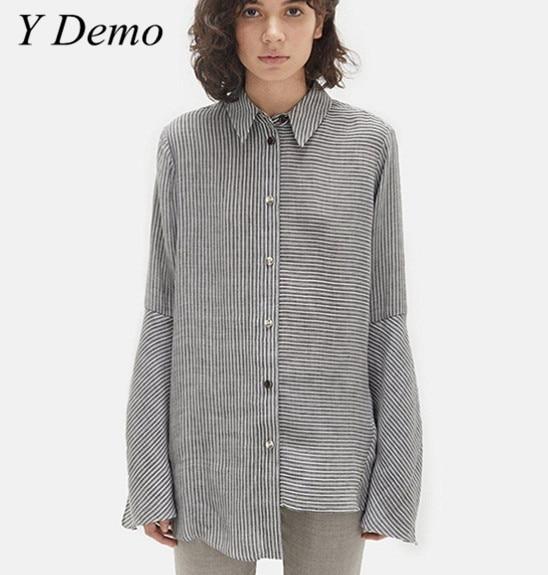 2018 Casual Vintage Asymmetrical Stripes Womens Shirt Elegant Office Lady Flare Sleeve Blouses