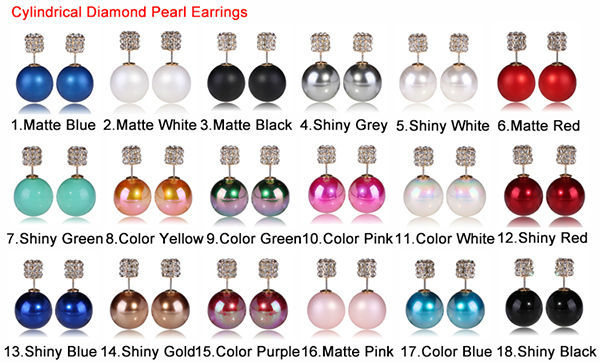 Cylindrical diamond pearl earrings 3