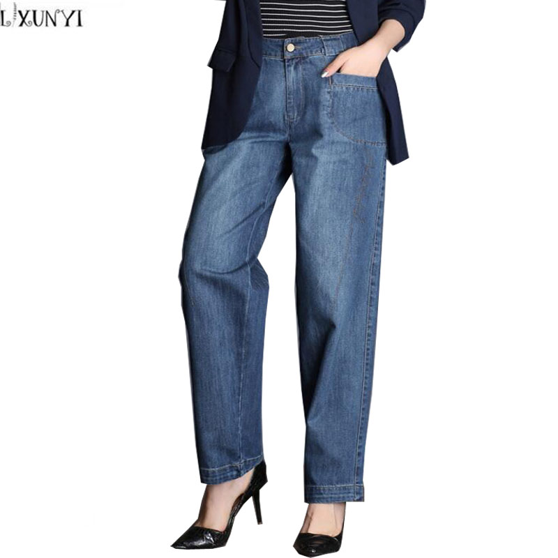 LXUNYI Autumn 2017 New Arrival ladies Loose jeans Women High Waist Plus Size Wide leg Straight Casual jeans Woman Harajuku Pants charter club new brown straight leg women s size 10 corduroys pants $59 114