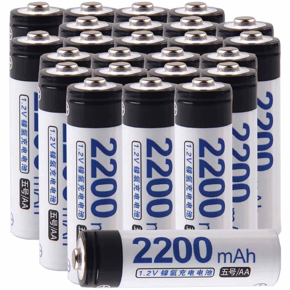 Le plus bas prix 25 pièce AA batterie 1.2 v batteries rechargeable 2200 mAh nimh batterie pour outils électriques akkumulator