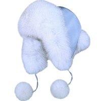 2019 Winter Warm Ear Protector Bomber Hats Real Fox Fur Cap Top fabric fox ball Flower Ball Women Fashion Hat