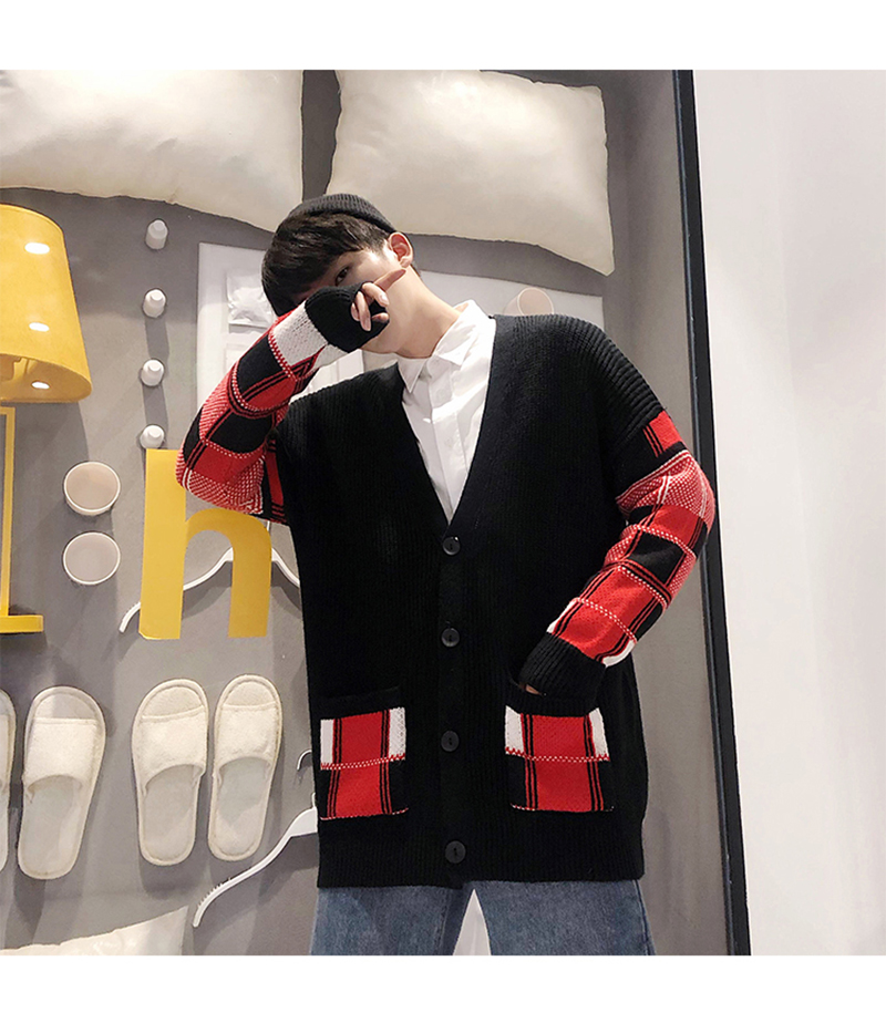 Korean Oversized Sweater Cardigan Men Plaid (13)