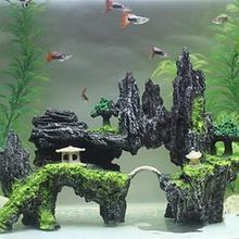 Taş döşeli taş balık tankı peyzaj akvaryum dekorasyon döşeli dağ gizleme mağarası Pet malzemeleri