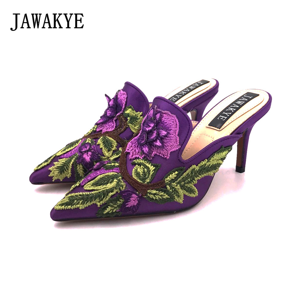 New Spring Embroidered high heel Slippers Women Purple blue Satin heeled ladies Mules Outdoor slip on Shoes Woman JAWAKYE satin embroidered slip dress with robe