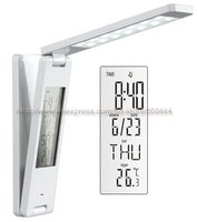 Rechargeable Folding LED Light Book Reading Lamp With Calendar Clock Alarm Thermometer 10PCS Lot DHL UPS