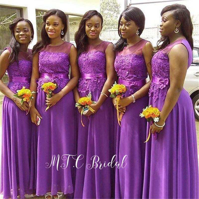 Graceful Purple Lace Appliques   Bridesmaid     Dresses   2019 Scoop Neck A Line Chiffon Long Maid Of Honor   Dress   Custom Made