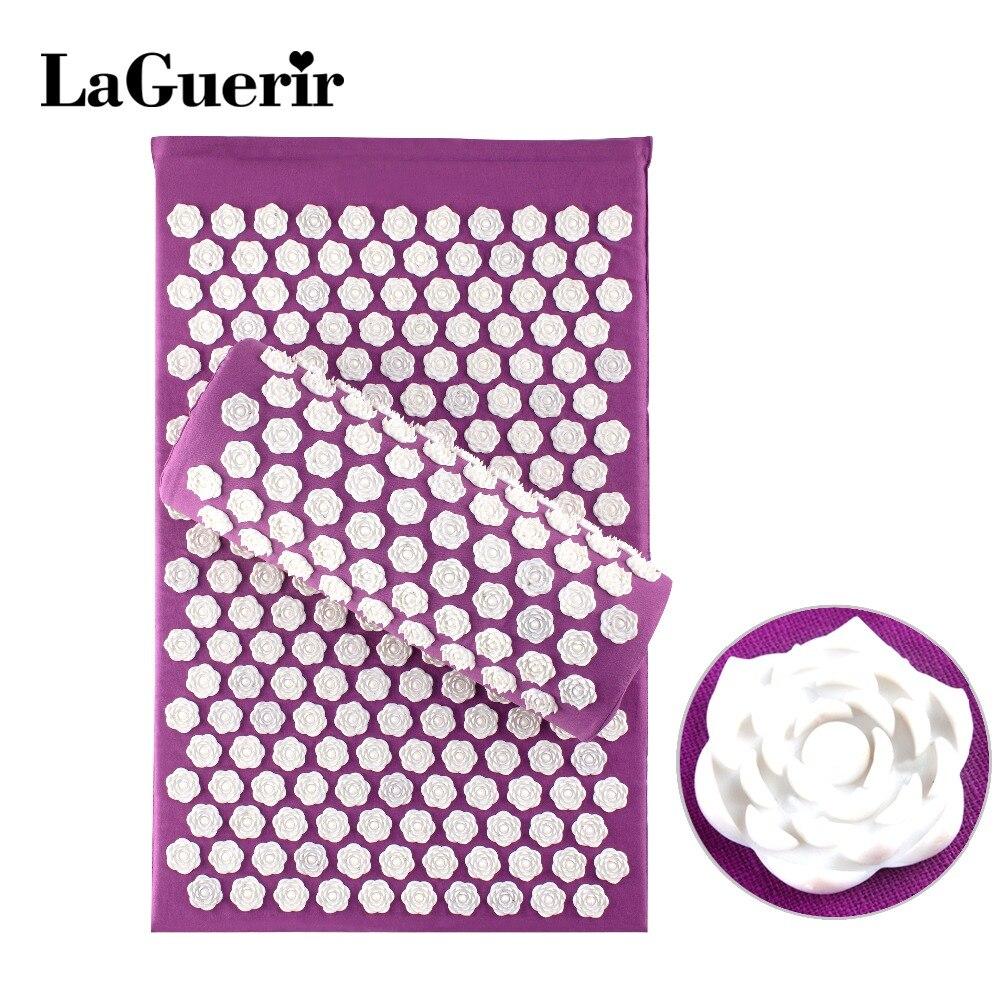 LaGuerir Akupressur Rose Form Massage Baumwolle Akupunktur Matten + Kissen Zurück Reflexzonenmassage Trigger Punkt Massage Stress Relief