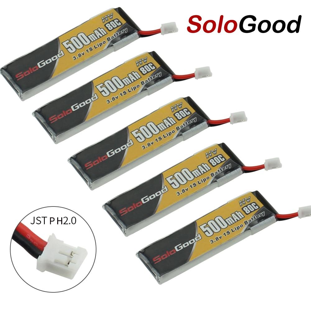 Аккумуляторная батарея SoloGood Lipo, 5 шт., 1S, 3,7 В, 3,8 В, 500 мА/ч, 80C, 1S, с вилкой PH2.0, для игр в помещении, гоночных дронов, игрушек