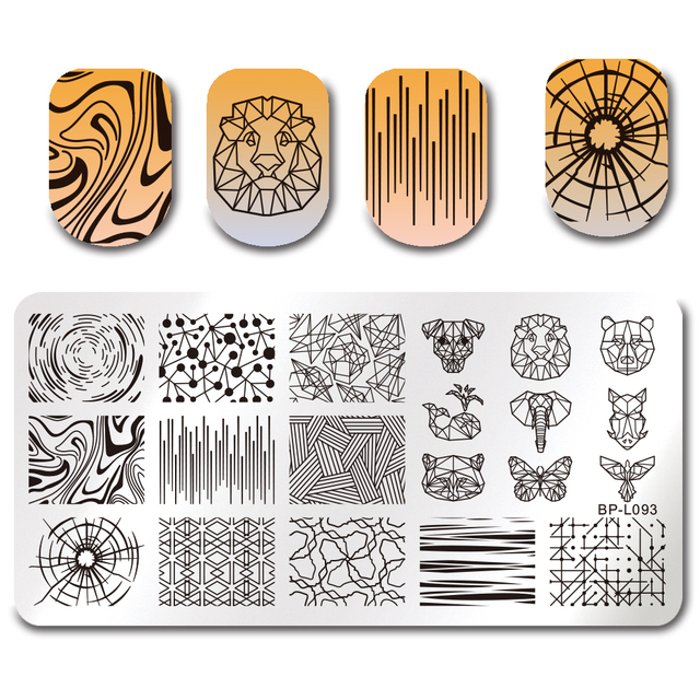 BORN PRETTY Flamingo Stamping Templates Summer Fruit Cartoon Animals Geometric Symbol Texture Starfish Floral Nail Stamp Plate