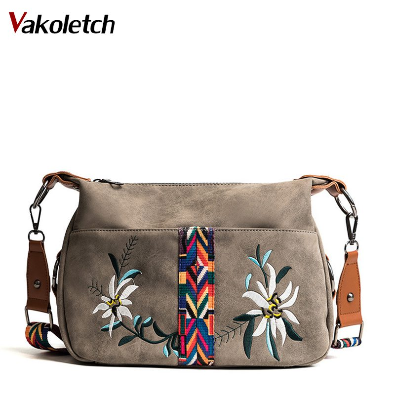Vintage Floral Embroidery Bag Wide Strap Handbag Shoulder Crossbody Bags For Women Messenger Bags Small Bolsa Feminina KL202
