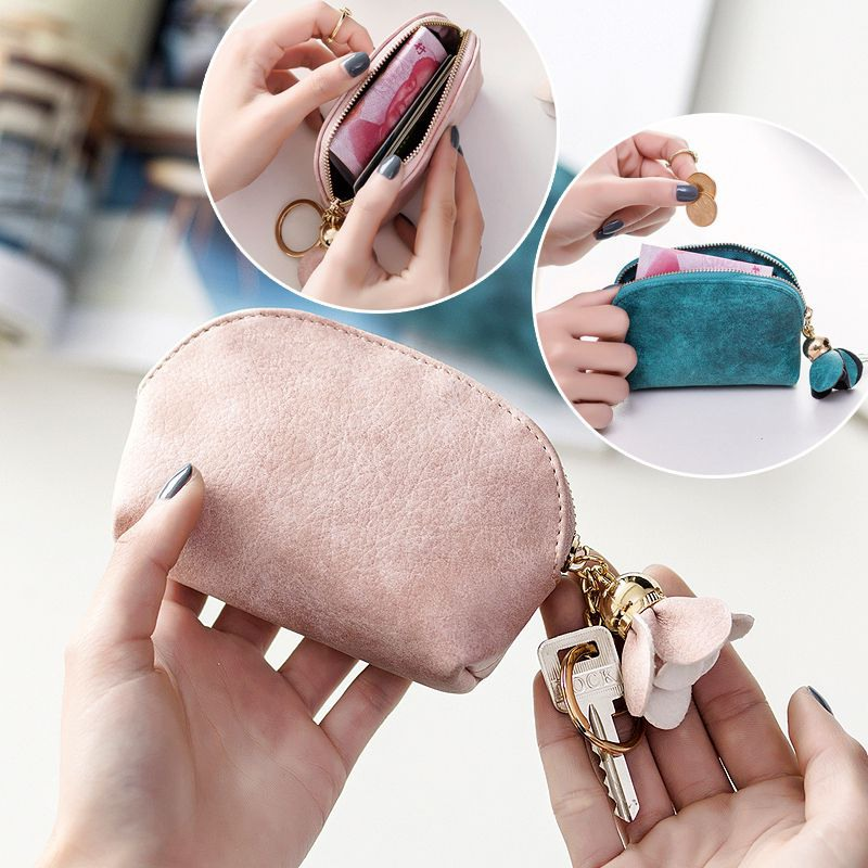 Women Vintage Small Coin Purses Fresh Fashion Pear Flower Pendant Simple Purse Solid Color Mini Coin Purse 2019