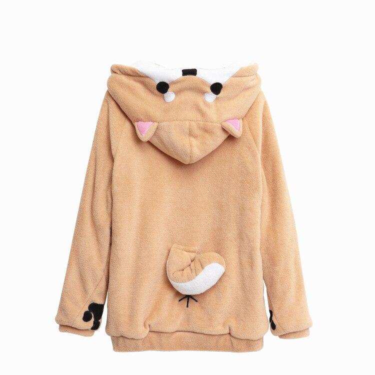 Shiba Inu Dogen Kawaii schöne Samt mit Langen ärmeln Mit Kapuze Plüsch Mantel Cartoon Anime Stil Warme dame Winter Sweatshirt Weihnachten