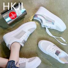 HKJL Casual little white female 2019 spring money all go with thick bottom net hole heighten hollow out breathable summer A634