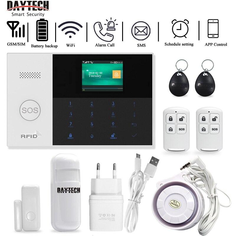 DAYTECH GSM WiFi système d'alarme sécurité maison PIR détecteur porte capteur APP iOS/Android APP contrôle TFT écran 8 langues