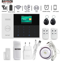 DAYTECH GSM WiFi Alarm System Security Home PIR Detector Door Sensor APP iOS/Android APP Control TFT Screen 8 Languages