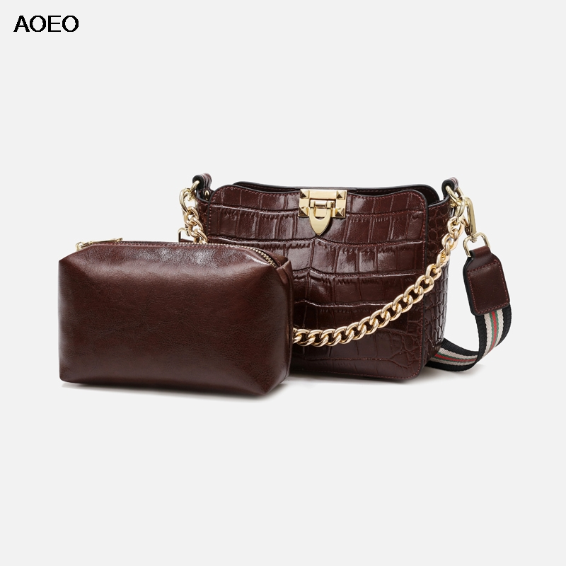 AOEO Women Shoulder Bags Luxury Alligator Split Leather Lady Chain Handbag High Quality Girls Composite Messenger