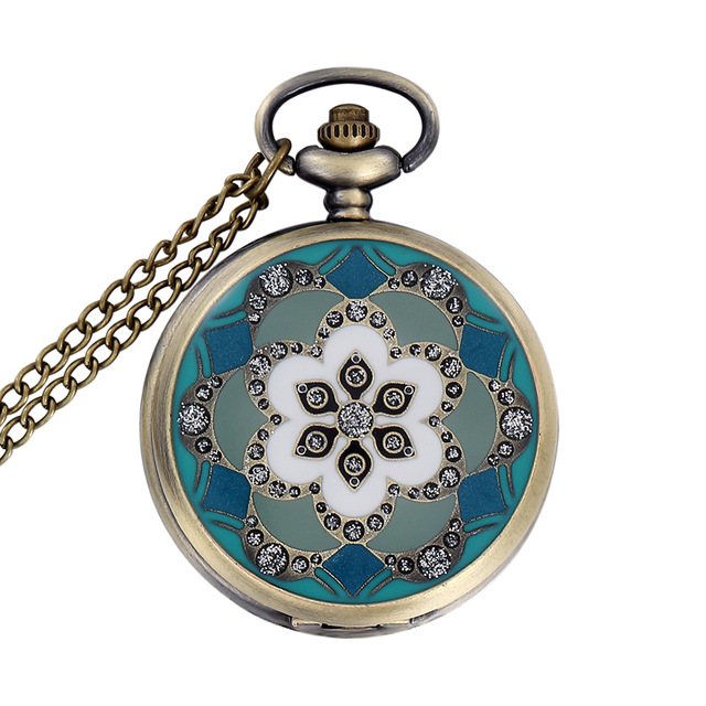 Luxury Fashion Vintage Elegant Ceramics Flowers Antique Pocket Fob Watch Necklace For Men And Women Gift