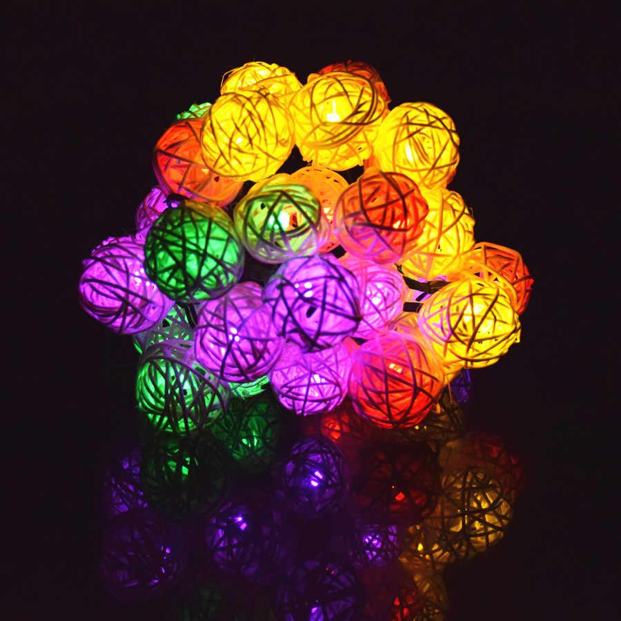 Освещение строки 6 м 30 светодиодный солнечный гирлянды светодиодный ротанга мяч гирляндой строку для рождества Свадебная вечеринка наружной отделки