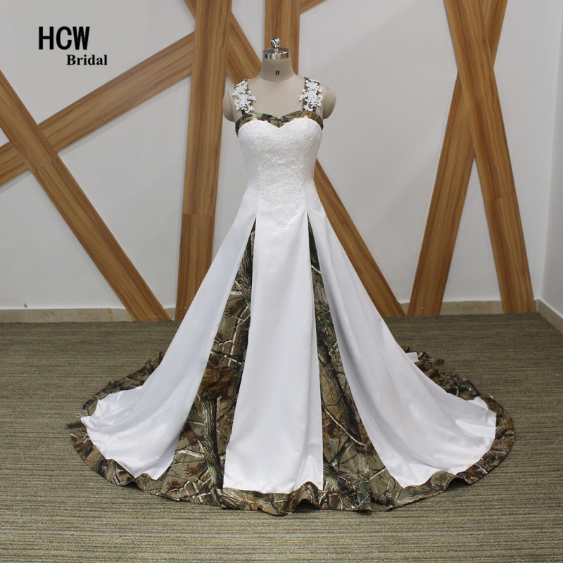 US $142.35 27% OFF|Camouflage Wedding Dress Strapless Appliques Beaded  Satin Princess Wedding Dresses 2019 New Plus Size Camo Bridal Gowns Lace  Up-in ...