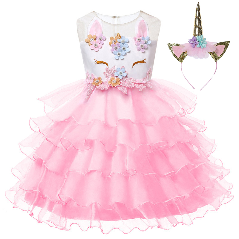 2019 Roupas Infantis Girls Applique Network Yarn Cake Dress Child Christmas Vestidos Baby 2 10 Y Halloween Quality Clothing in Dresses from Mother Kids