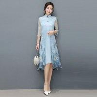 Chinese Style Summer Dress faux silk floral printed Women Casual Cotton Linen chiffon Plus Size Vestidos de fiesta VKDR1333