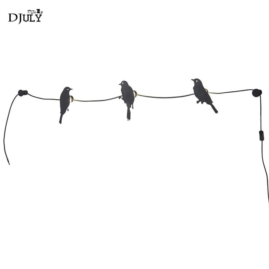 Lampe de mur LED de ligne d'oiseau créative nordique pour salon chambre escaliers magasin de vêtements placard maison déco enfants applique murale de chevet