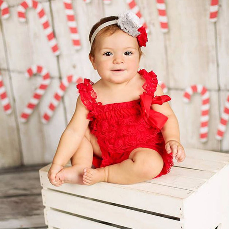5769f44c4c17 Christmas Romper Red Lace Petti Romper Baby Girl Clothes Newborn Infant  Lace Jumpsuit Toddler Christmas Outfit-in Rompers from Mother   Kids on ...