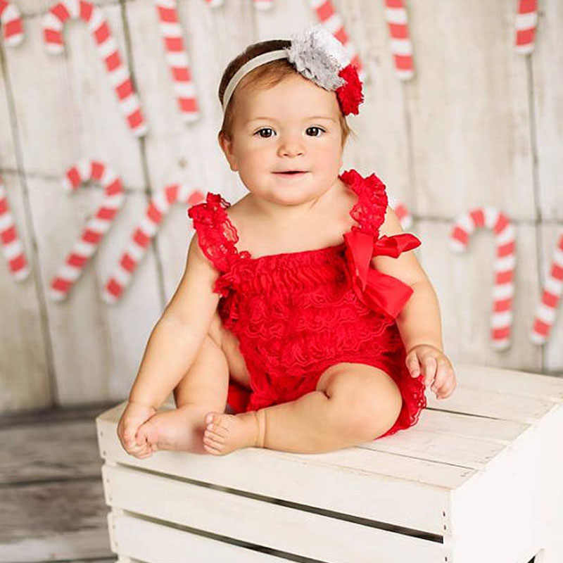 e3a6c91d28c5c Christmas Romper Red Lace Petti Romper Baby Girl Clothes Newborn Infant  Lace Jumpsuit Toddler Christmas Outfit