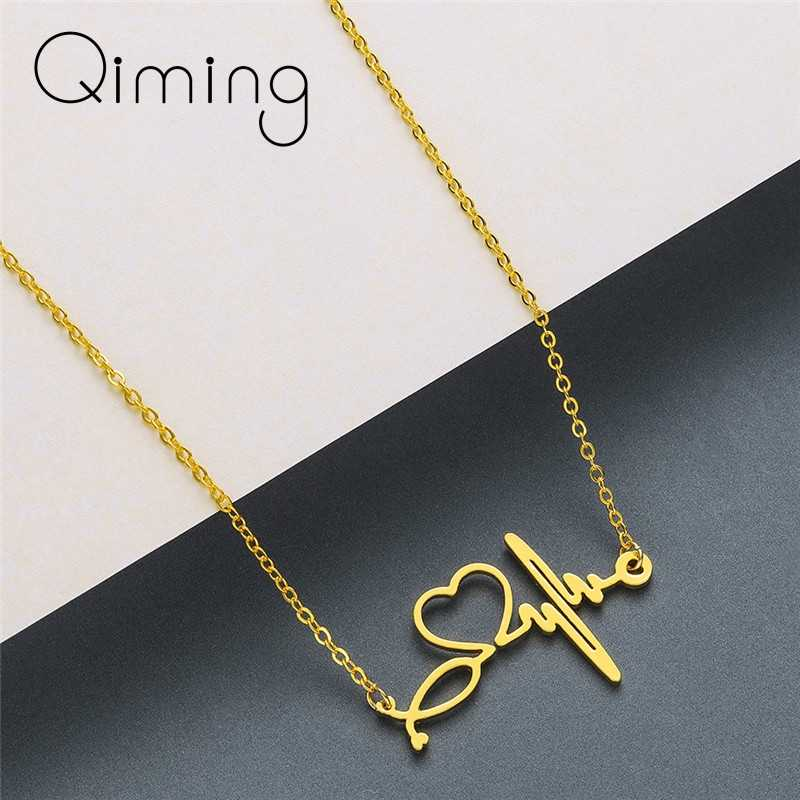 Love Heartbeat Necklaces & Pendants For Women Silver Stainless Steel Doctor Medical Wedding Jewelry Gold Chain Necklace