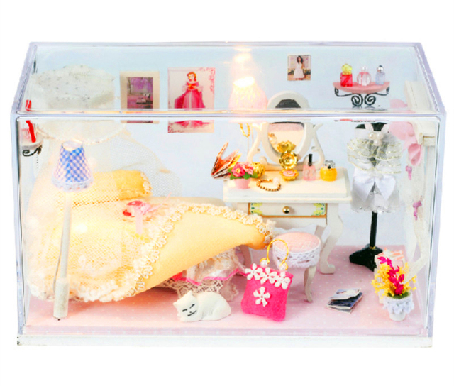 Miniaturas de bonecas de madeira DIY Kits Led música de presente de aniversário de madeira DIY criativo Mini casa de bonecas casa