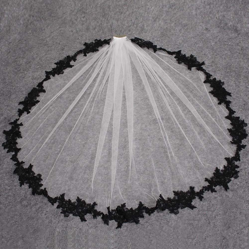 Black Lace Appliques White Ivory Tulle Short Wedding Veils One Layer Bridal Veil with Comb Wedding Accessories Veu de Noiva-in Bridal Veils from Weddings & Events