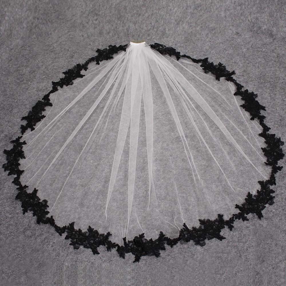 Black Lace Appliques White Ivory Tulle Short Wedding Veils One Layer Bridal Veil With Comb Wedding Accessories Veu De Noiva