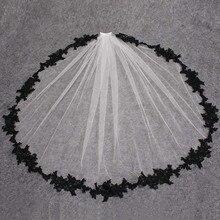Czarne koronkowe aplikacje białe kości słoniowej tiul krótkie welony ślubne jedna warstwa welon ślubny z grzebieniem akcesoria ślubne Veu de Noiva