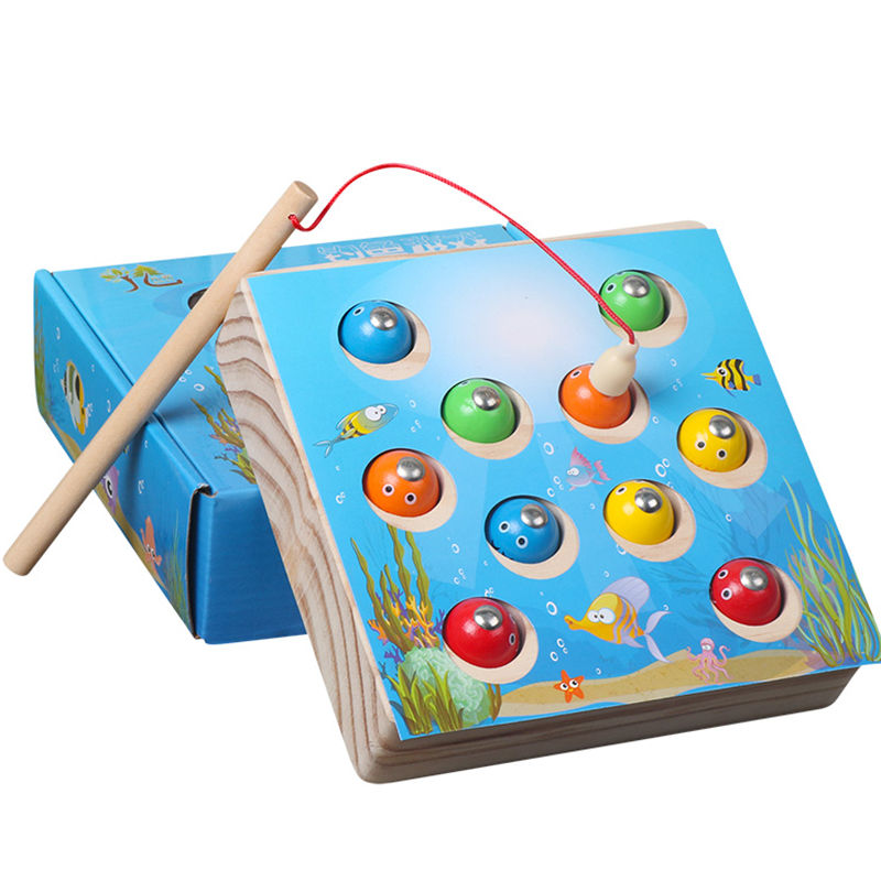 Lovely Children Wooden Toys Magnetic Games Fishing Toy Game Kids 3d Fish Baby Kids Educational Toys Outdoor Funny Boys Girl Outdoor Fun & Sports