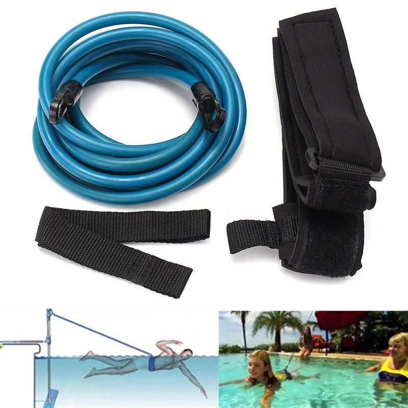 Newest 4m Adjustable Adult Kids Swimming Bungee Exerciser Leash Training Hip Swim Belt Cord