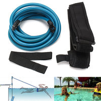 Newest 4m Adjustable Adult Kids Swimming Bungee Exerciser Leash Training Hip Swim Belt Cord Safety Swimming