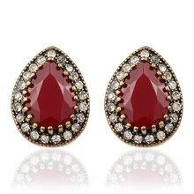 335a0d5596ea Cristal vintage joyería India 2017 moda diseñador Pendientes para las mujeres  gota de agua rojo verde resina venta al por mayor .