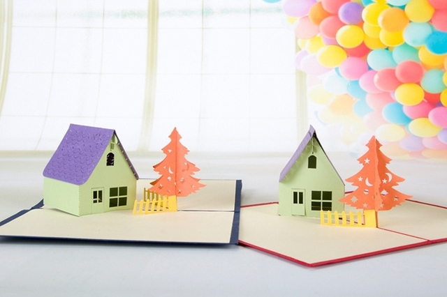 3d birthday card 5pcslot 3d pop up greeting card house design christmas gift card