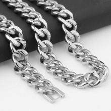 15mm 7-40inch Sporty Heavy Stainless Steel Link Polished Silver Cuban Curb Chain Men's Boy's Necklace Or Bracelet Daily Jewelry