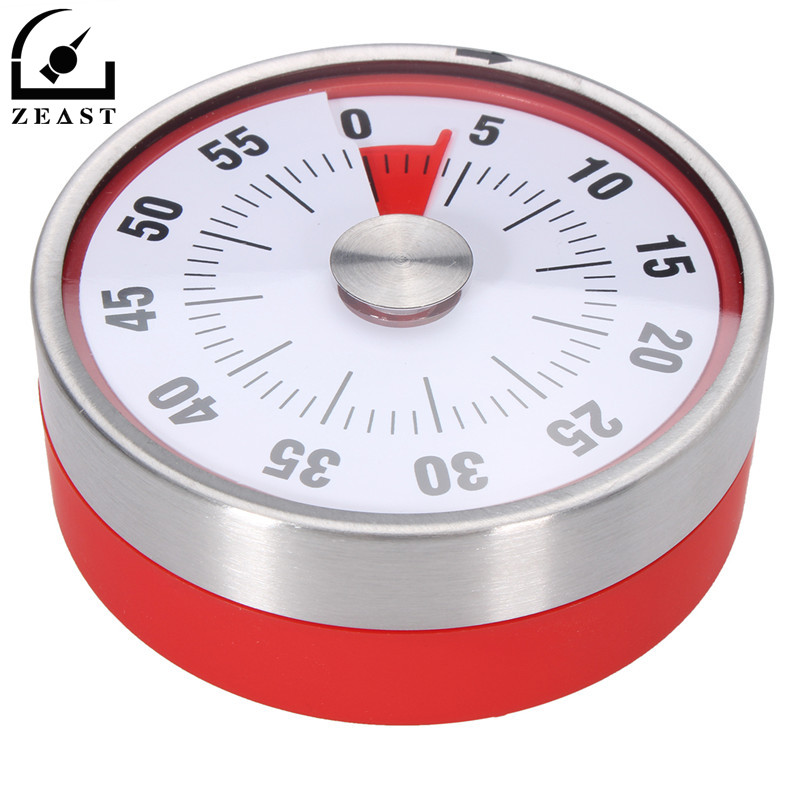 8cm Magnets Fridge Kitchen Timer Mechanical Reminder Sport Stainless Steel Ring Controller